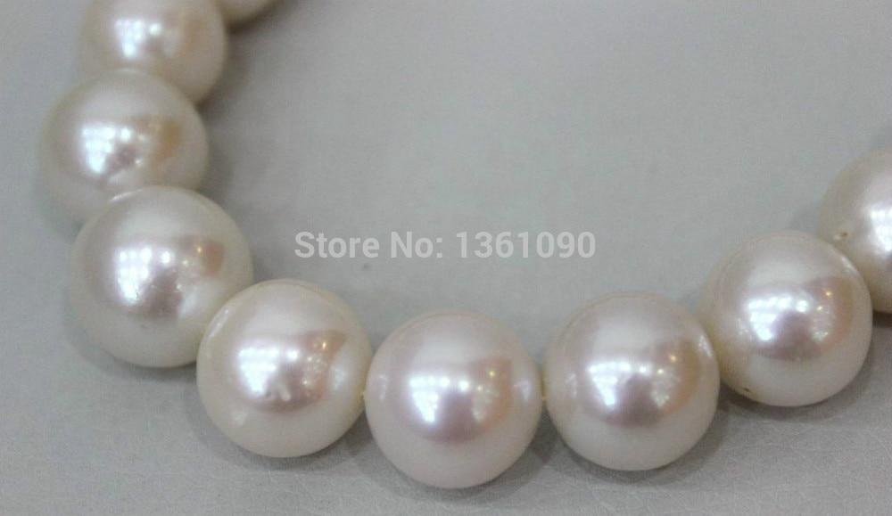 Xd 003463 Grande perle D'eau Douce collier blanc 11.7-15.4mm 16