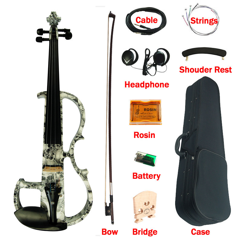 Advanced Electric Silent Art Violin 4/4 Ebony Fittings Skeleton Painted Solid Wood Violino Music Instruments With Bow  Case brand new handmade colorful electric acoustic violin violino 4 4 violin bow case perfect sound