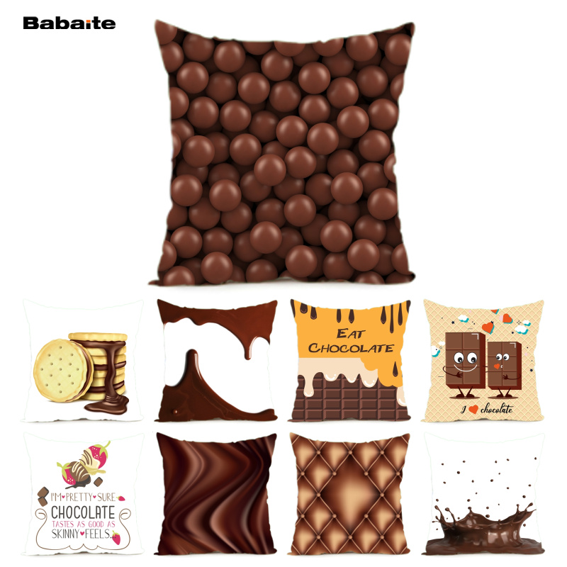 Babaite Eat Chocolate Bean Chocolate Texture Smooth Skin Cushion Cover Home Decoration Throw Pillow Cover with Nice Zipper