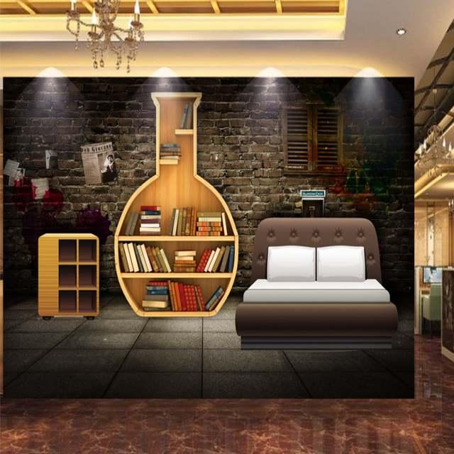 Online Shop Custom Photo Wallpaper 3d Stereo Wall Bookcase Retro