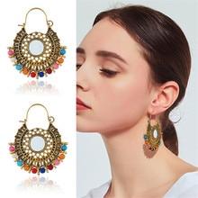 CRLEY Round Ethnic Colorful Beads Pendant drop earrings for women Luxury Sterling Dangle Earrings Handmade Tassel Big Earring