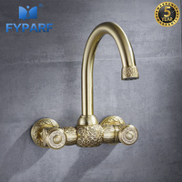 FYPARF Wall Mounted Bath Basin Mixer Gold Faucets Bathroom Sink Faucets Bathroom Fixtures in Brass Hot Cold Tap Waterfall 2 Hole