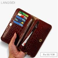 Wangcangli brand genuine calf leather phone case crocodile texture flip multi function phone bag For LG V30 hand made
