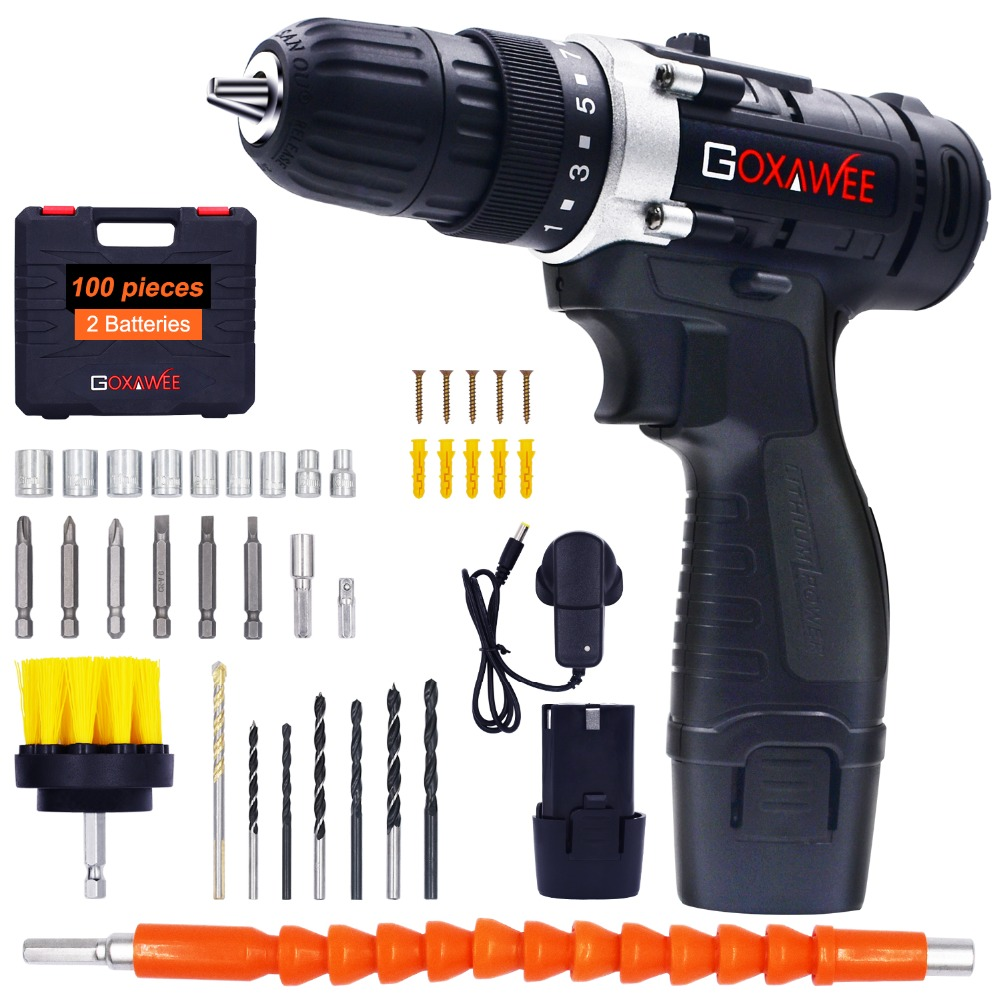 GOXAWEE 12V Electric Drill Screwdriver Cordless Lithium-Ion Battery Operated Rechargeable Drill Multi-function Power Tools Kit