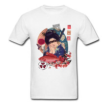 Samurai Geisha T-shirt Men New Arrival Tshirt Japan Style Tops Travel Custom Tee Shirts Cotton White Clothes Slim Fit Uniforms