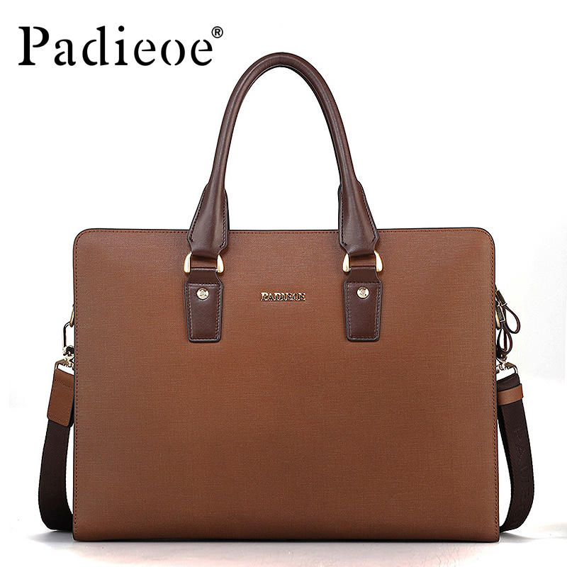 Famous Brand Padieoeo Handbag Men Shoulder Bags Leather Casual Briefcase Cowhide Messenger Bag Men's Business Travel Laptop Bag padieoe men s genuine leather briefcase famous brand business cowhide leather men messenger bag casual handbags shoulder bags