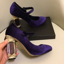 171822344fd Hohe qualität retro samt hochhackige schuhe Chic kristall heels party  schuhe Mode frauen Mary Janes high heels schuhe EU35-41 B