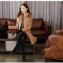 Autumn Women Fur Collar Slim Wool Blends Coat Elegant Double-Breasted Long Sleeve Jacket