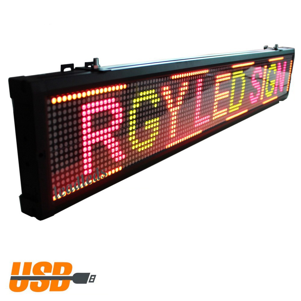 ( 3 PACK ) 40 * 6inch 3Colors Of Programmable Led Sign With Scrolling Message Display For P7.62mm Indoor Use Led Display