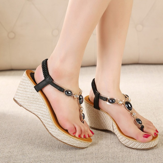 698d80f0a Summer Women Wedge Sandals Flip Flops Bohemia Gladiator Rhinestone Shoes  Sweet Beach Platform Thong Sandals Casual Shoes BTQ533