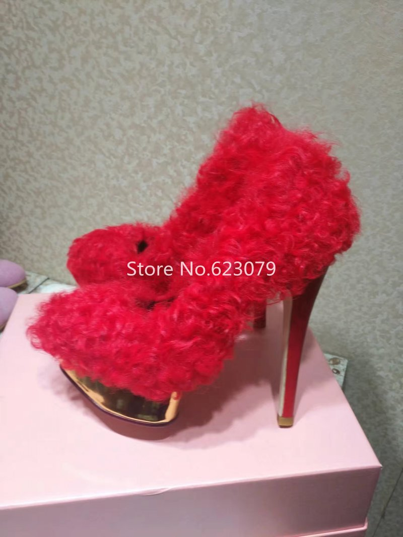 2017 wedding font b shoes b font red fur shearling platform high heel font b shoes