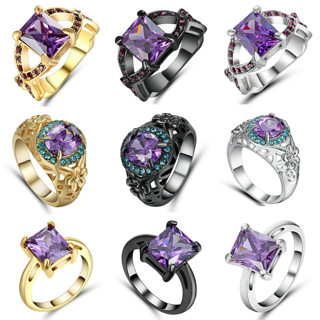 Fashion cross finger ring for lady paved cz zircon luxury hot Princess women Wedding Engagement Ring purple color jewelry