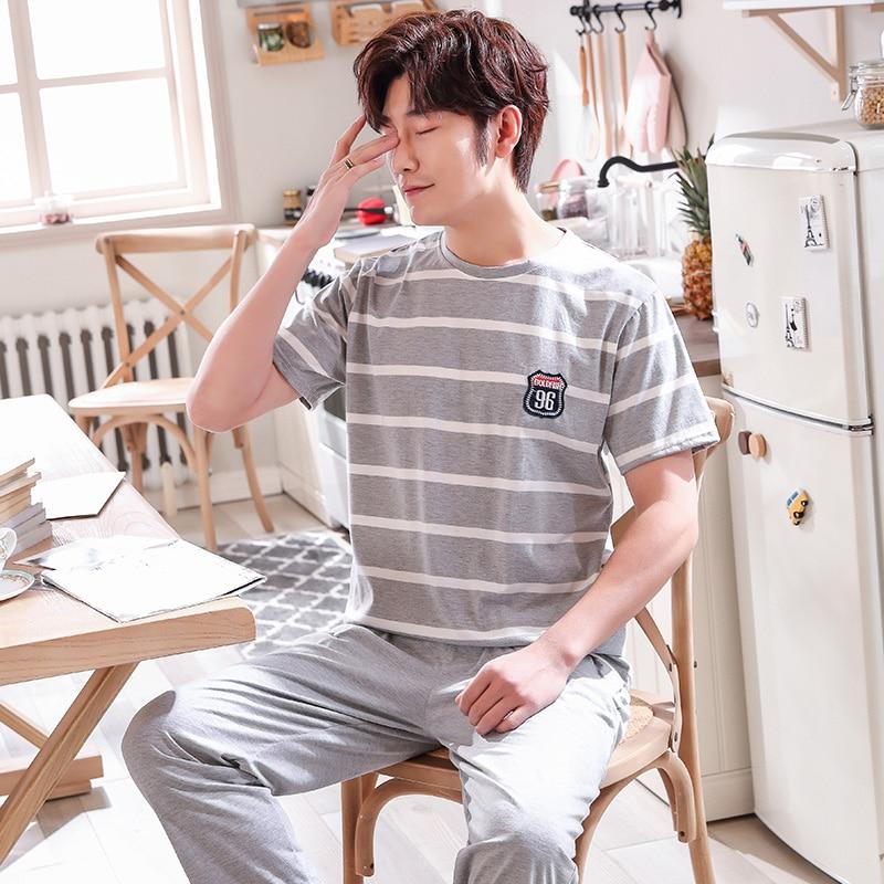 Mens Sleep Sets Striped Indoor Set Casual Loungewear Quality Cotton Nighties For Men Sleep Shirts+ Pajama Pants Home Lounge Gift