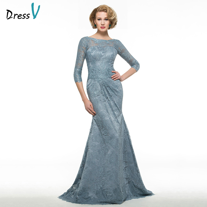 Dressv Scoop Neck 3/4 Sleeves Trumpet Mother Of Bride Dress Sweep Train Mermaid Lace Long Mother Evening Gown Custom