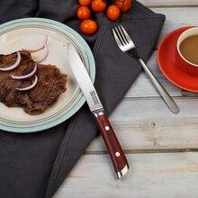 Steak-Knife Knives-Color German Kitchen KEEMAKE Wood-Handle Steel-Blade Sharp High-Quality