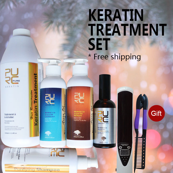 Brazilian keratin treatment formalin 5% 1000ml hair straightening and purifying shampoo gifts hair care free shipping