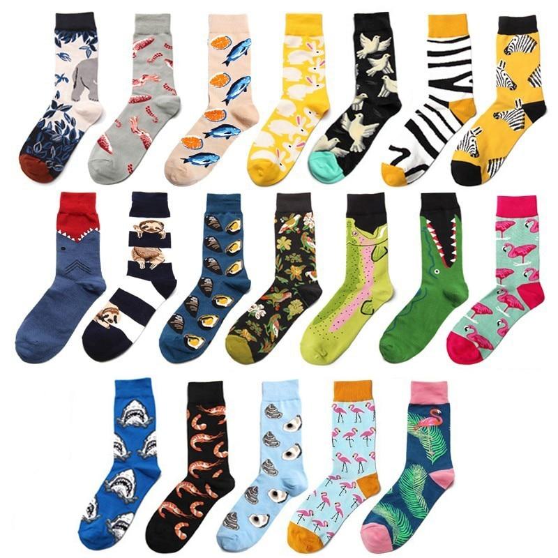 PEONFLY Men Socks Cartoon Flamingo Rabbit Crocodile Zebra Stripes Funny Animals Harajuku Colorful Happy Hip Hop Male Cotton Sock