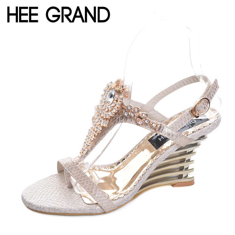 HEE GRAND 2017 Wedges Gladiator Sandals Bling Crystal Flip Flops Sexy High Heels Gold Casual Platform Shoes Woman XWZ3463 2017 suede gladiator sandals platform wedges summer creepers casual buckle shoes woman sexy fashion beige high heels k13w