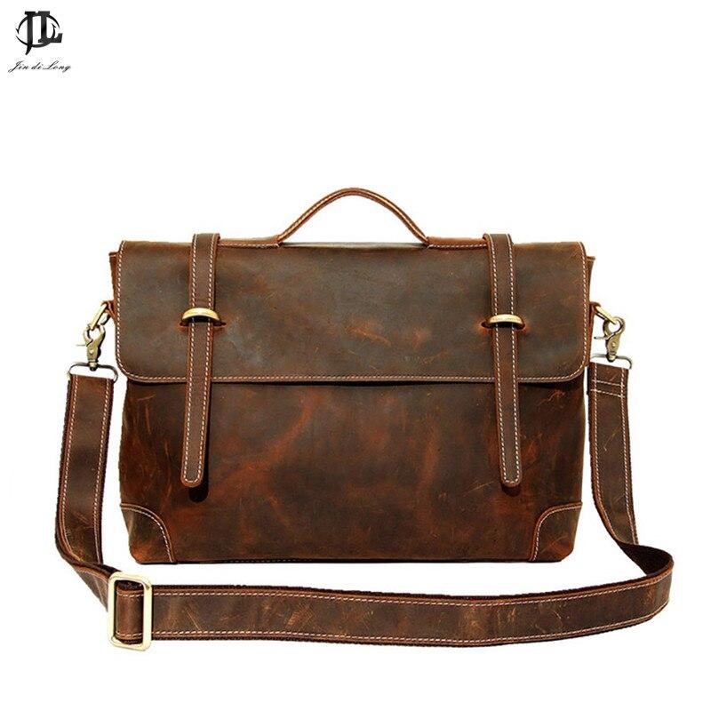 Briefcase Handbag Retro Crazy Horse Genuine Leather Men's  Shoulder Bussiness Zipper Laptop Notebook Messenger Briefcase Bags