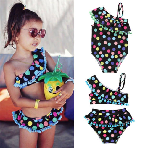 Cute Multi Infant Toddler Kid Baby Girls Colorful Dot Ruffles Bikini Set Swimwear Bathing Suit Swimsuit Beachwear