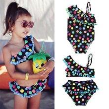Милый комплект бикини в разноцветный горошек с оборками для маленьких девочек, купальный костюм, купальный костюм, пляжная одежда