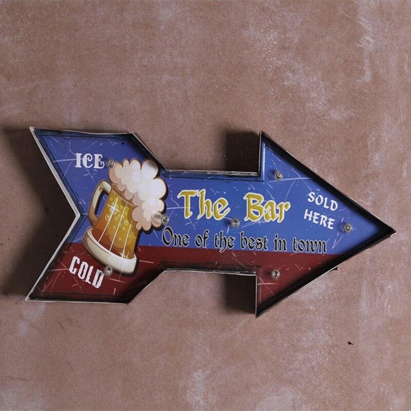 Ice cold Beer Bar Metal Neon Plate Vintage Drink Led Sign
