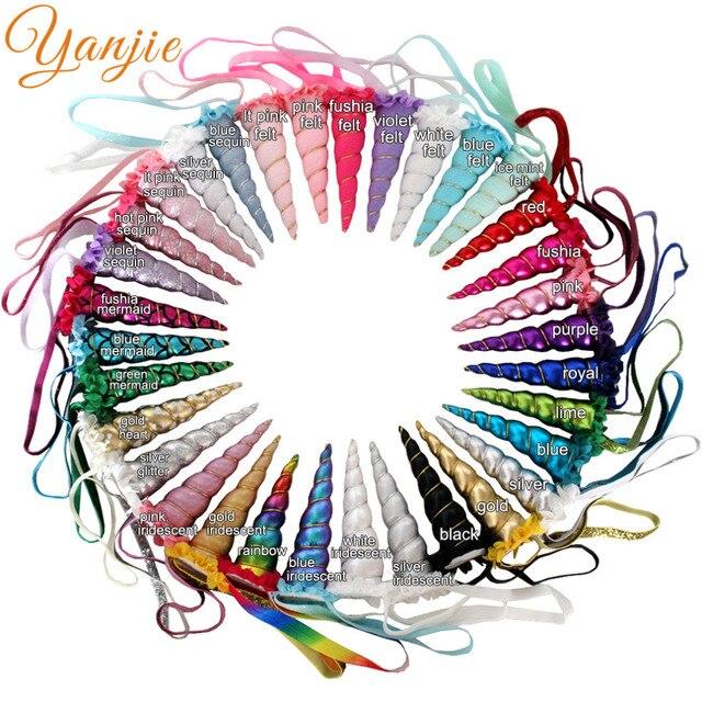 DHL 100pcs/lot 5 Glitter Unicorn Headband For Girls 2020 Metallic Unicorn Horn Elastic Hair Band Kids Party Hair Accessories