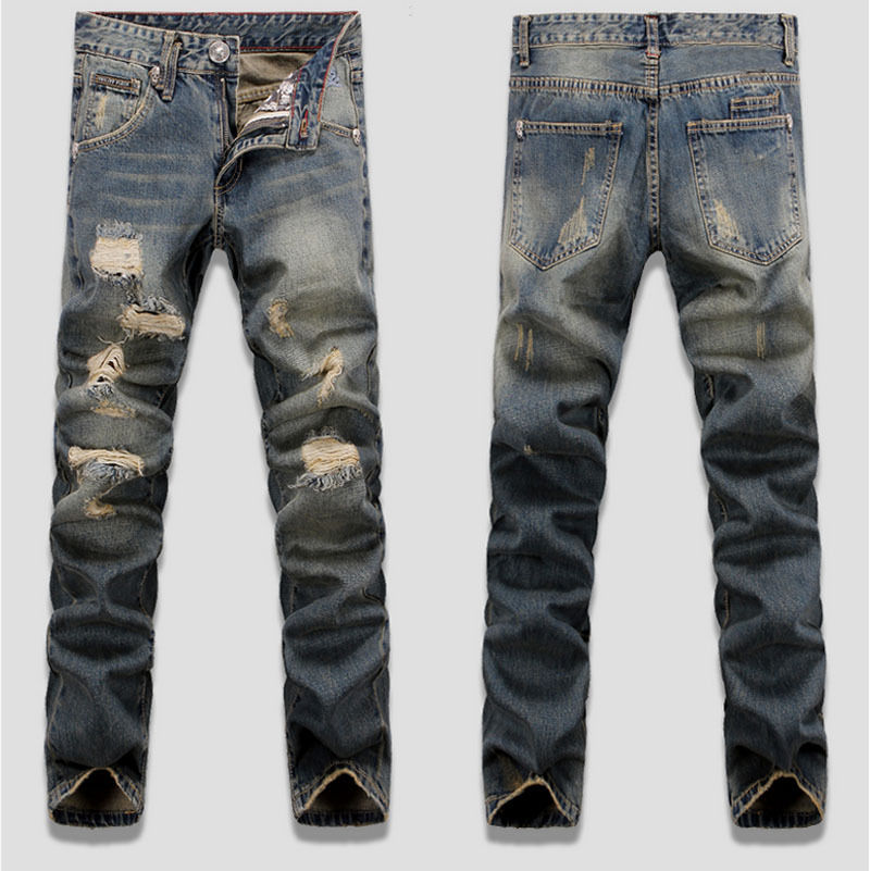 New Men s Slim Skinny Runway Straight Elastic Denim Pants Destroyed Ripped Jeans Button Zipper Hole