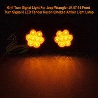 Pair Of Black LED Front Fender Flares Turn Signal Light LED Side Marker Lamp For Jeep