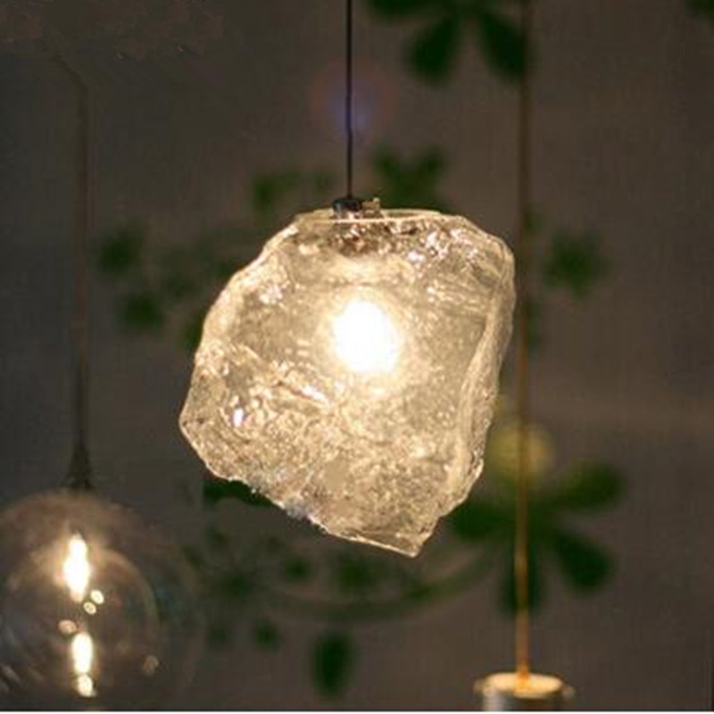 Fashion lamp crystal glass pendant lights stone ice LED indoor lighting ceiling dinning living room hanging lighting fixtures a1 master bedroom living room lamp crystal pendant lights dining room lamp european style dual use fashion pendant lamps