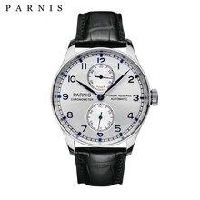 Reloj Automático de Los Hombres PARNIS Power Reserve 43mm de Lujo Superior de la Marca de Cuero Genuino Relojes Mecánicos Hombre Reloj relogio masculino