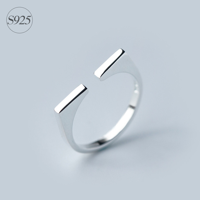 925 Sterling Silver Square Adjustable Ring