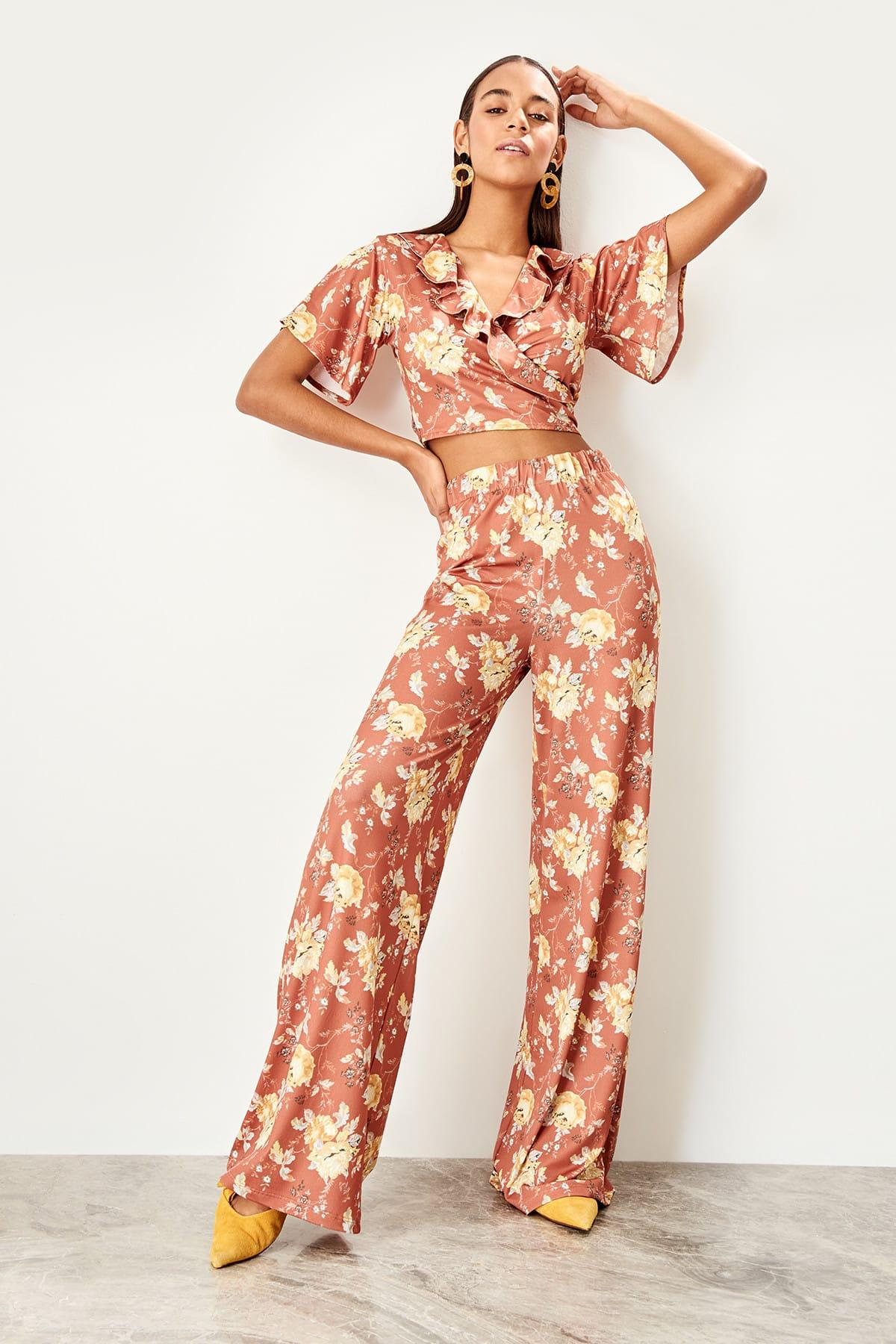 Trendyol Cinnamon Patterned Örme Pants TWOSS19OS0091