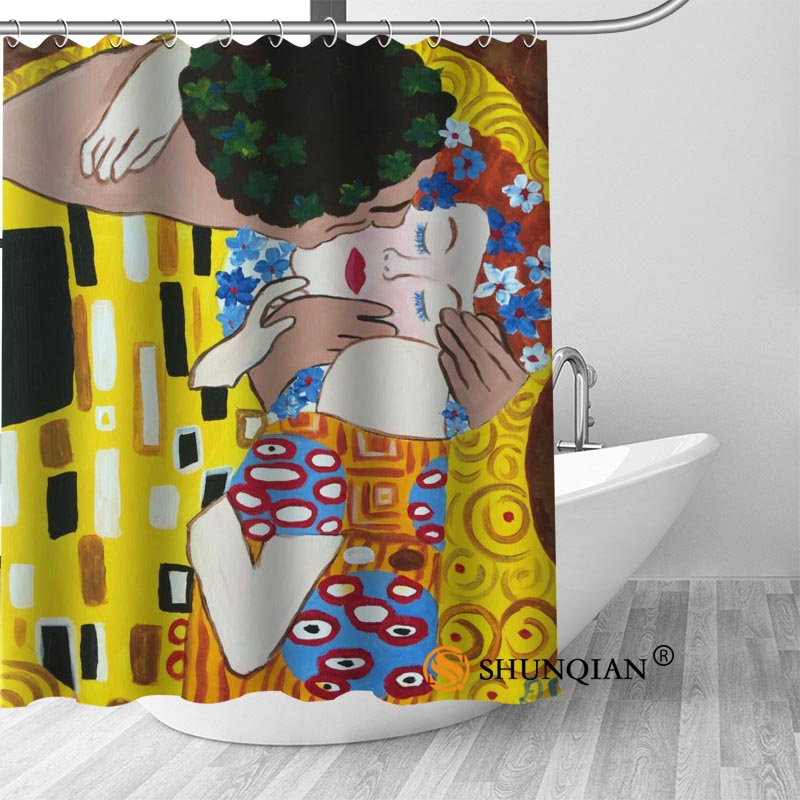 New The Kiss Gustav Klimt Shower Curtain Bathroom Decorations For Home Waterproof Fabric Bath A1813 In Curtains From