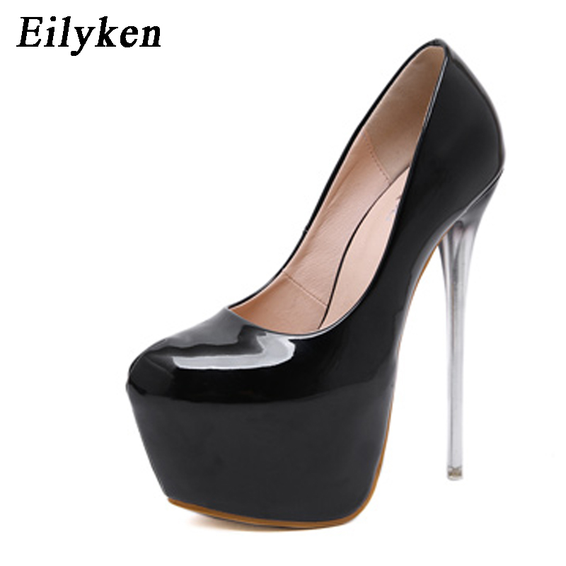 Eilyken 2019 New Spring Woman Pumps shoes Sexy Extreme Club High heels shoes Patent Leather Party Apricot Black shoes size 34 40