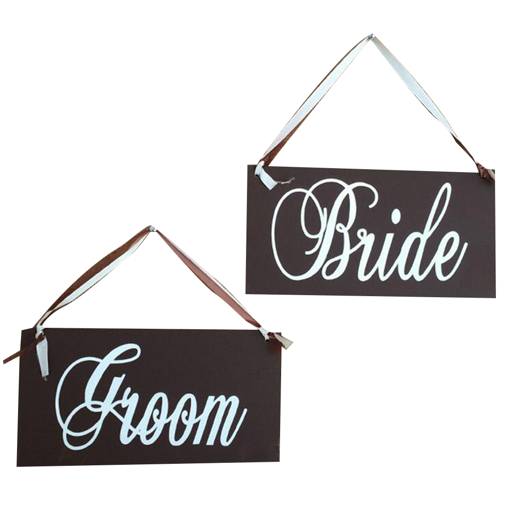 Wooden Bride Groom Wedding Photo Props Hanging Board Chair Signs Wedding Signs