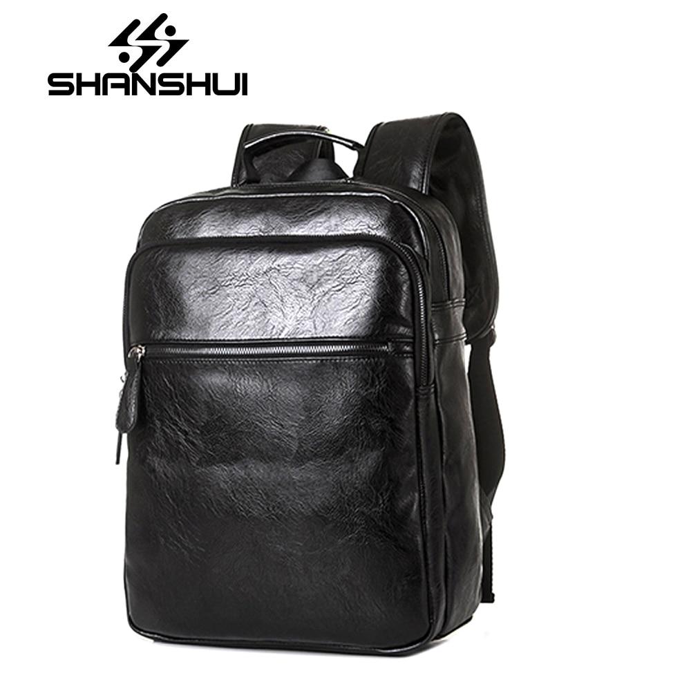 2017 Men Leather Backpack High Quality Youth Travel Rucksack School Book Bag Male Laptop Business bagpack Mochila Shoulder Bag