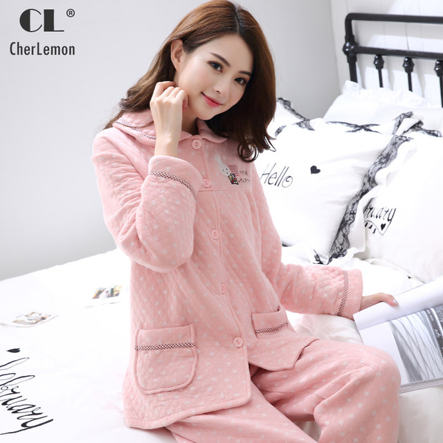 CherLemon Winter Women Thick Cotton Pajamas Cute Snowflakes Printed Pink  Homewear Ladies Long Sleeve Warm Sleep fda9f938a