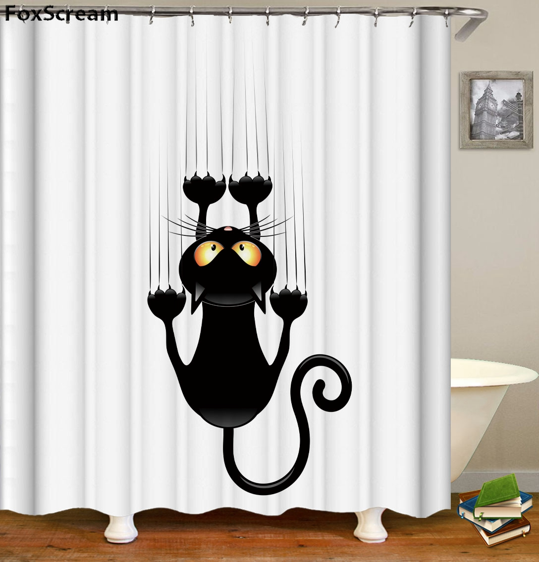 Cat Bath Shower Curtain Funny Star Outside Space Nebula Galaxy Cat Painting Fabric Bathroom Curtains For Bathroom