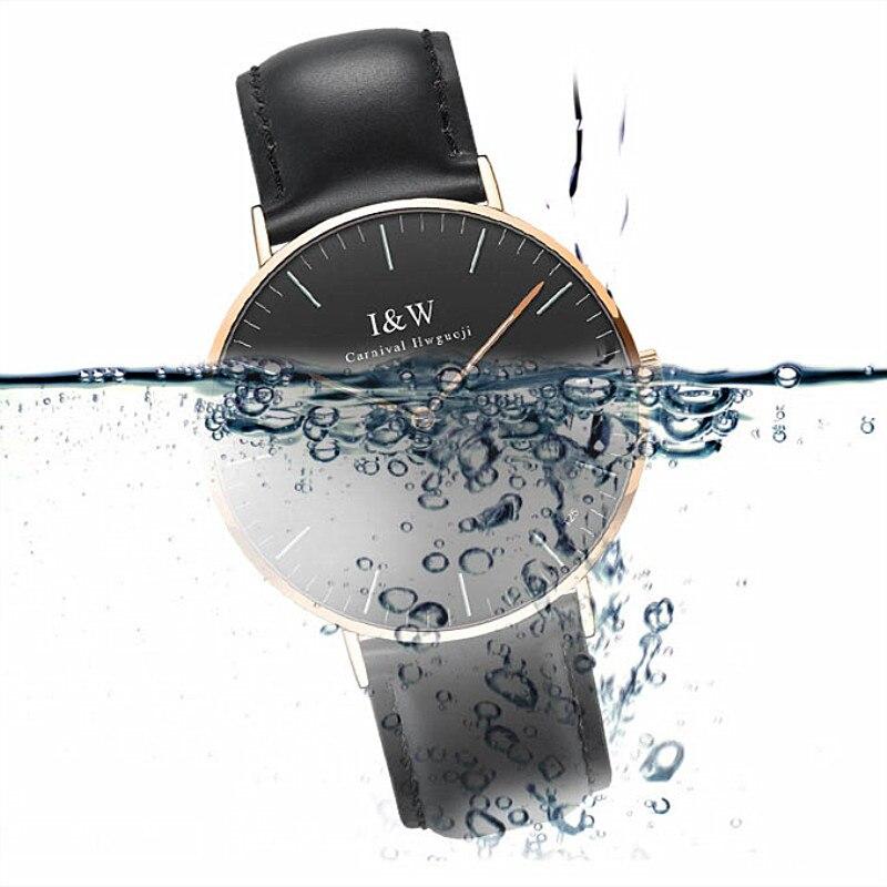 남성 럭셔리 카니발 i & w 블루 트리튬 빛나는 쿼츠 시계 남성 초박형 방수 손목 시계 남성 가죽 시계 relogios-에서수정 시계부터 시계 의  그룹 3