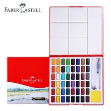 купить Faber Castell Solid Watercolor Paint Set 24/36/48 Brilliant Colors Transparent Beginner Portable With Art Brush School Supplies по цене 1486.59 рублей