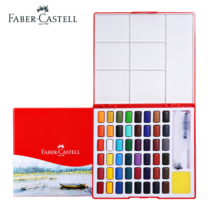 Faber Castell Solid Watercolor Paint Set 24/36/48 Brilliant Colors Transparent Beginner Portable With Art Brush School Supplies