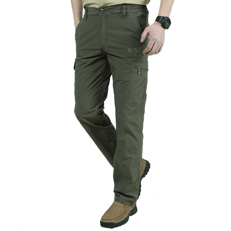 HTB107LcvcyYBuNkSnfoq6AWgVXaI Breathable lightweight Waterproof Quick Dry Casual Pants Men Summer Army Military Style Trousers Men's Tactical Cargo Pants Male
