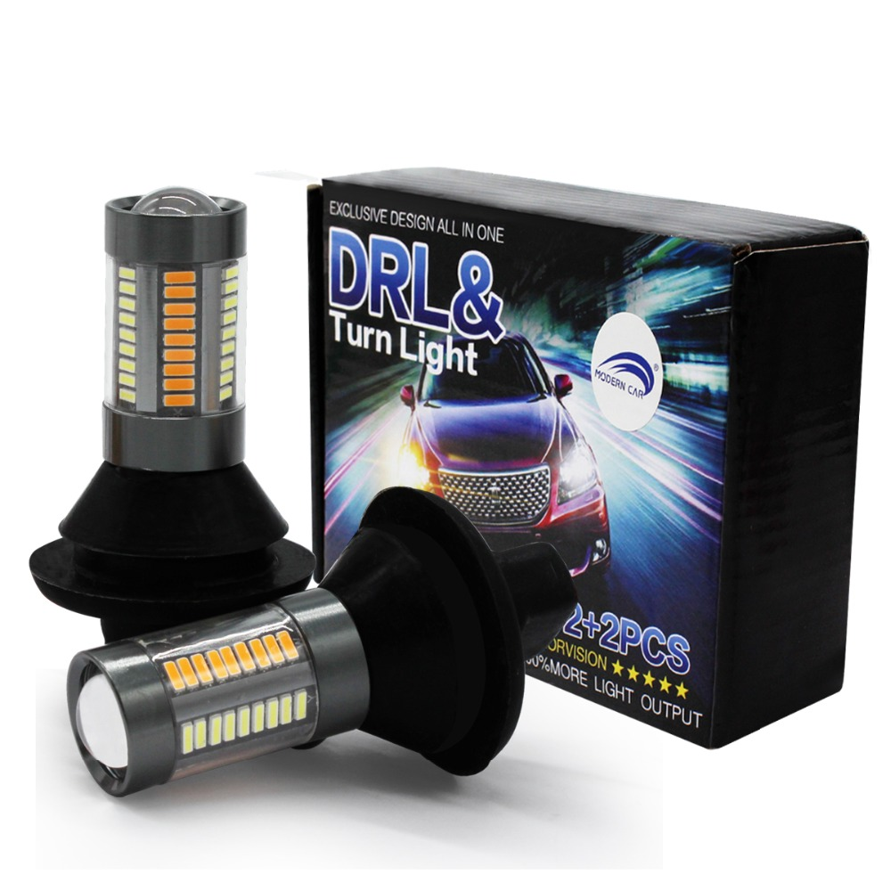 MODERN CAR T20 7440 66SMD DRL Running Light White S25 1156 BA15S BAU15S Lamp Bulbs 12V Turn Signal Light Amber with Canbus 66W