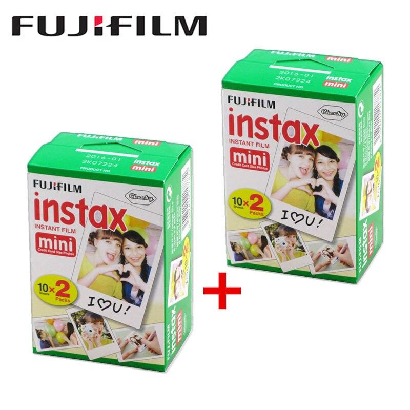 Total de 40 folhas Original 20 pçs/caixa Fujifilm instax mini filme 3 Polegada de largura Fuji papel fotográfico para mini Câmera Instantânea 8 7 s 25 50 s 90