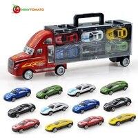 Frete Grátis 13 pcs Truck e Carros Pequenos Modelos de Liga Leve Carro de Brinquedo Crianças Brinquedos Educativos Modelo de Simulação Presente Para Meninos