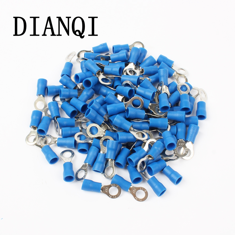 DIANQI RV2-5 Blue Ring Insulated Wire Connector Electrical Crimp Terminal Cable Connector Wire Connector 100PCS/Pack RV2.5-5 RV 15pcs a w g 14 6 copper cable lug tube wire crimp terminal ring connector 88a