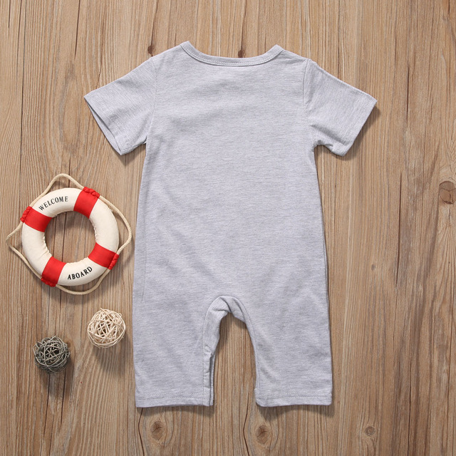 2017 Newborn Infant Baby Boy Girl Kids Bear Romper Jumpsuit Cotton O-neck Gray Bear Clothes Outfits Size 0-2Y 4