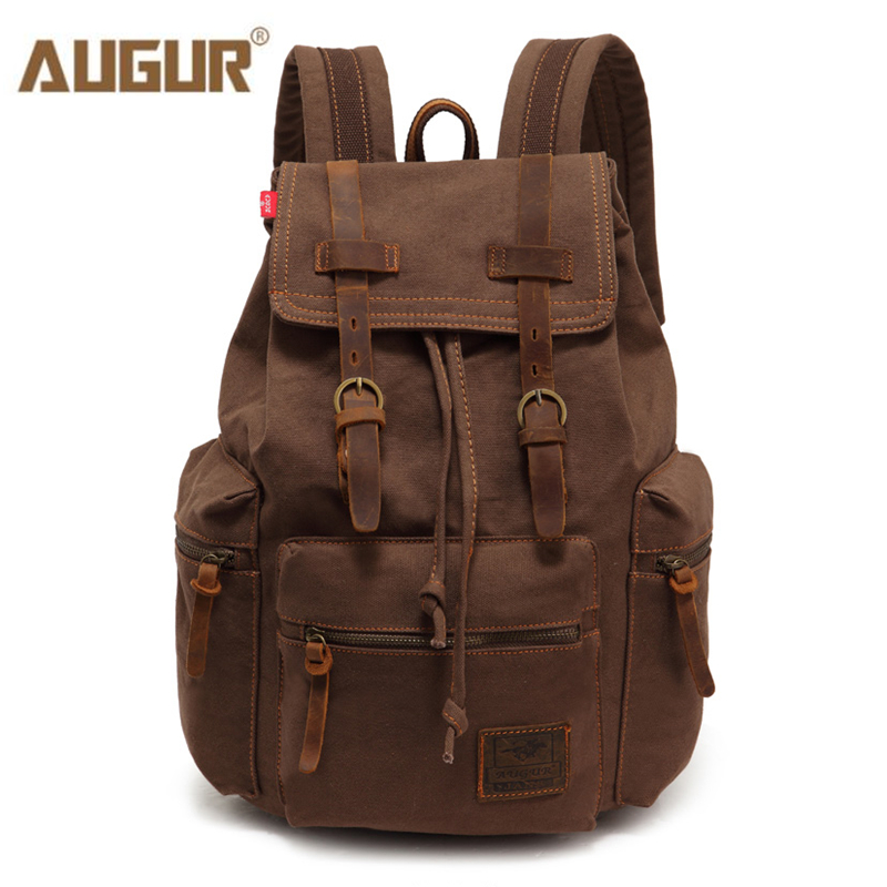 AUGUR New fashion men's backpack vintage canvas backpack school bag men's travel bags large capacity travel laptop backpack bag(China)