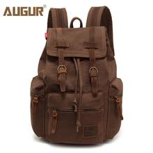 AUGUR mochila de lona vintage para hombre, bolso escolar, de viaje, de gran capacidad, mochila para portátil de viaje